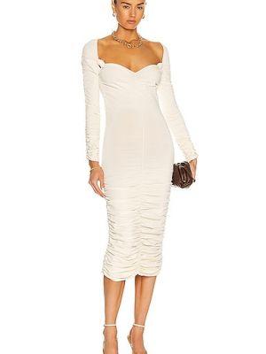 Бежевое платье макси с декольте с оборками Khaite