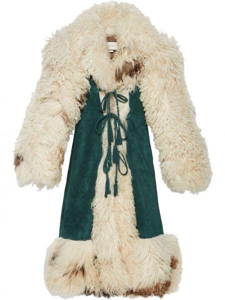 Z rękawami skórzany beżowy długo płaszcz z klapami Gucci