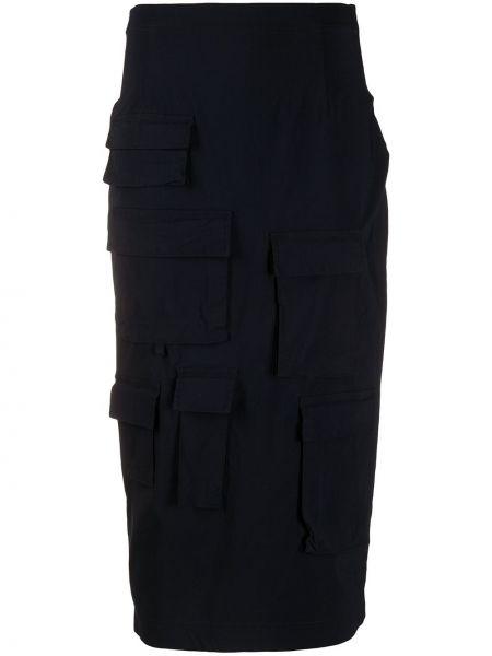 Синяя с завышенной талией юбка миди в рубчик с карманами Rundholz