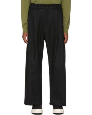 Брючные черные брюки свободного кроя с поясом Studio Nicholson