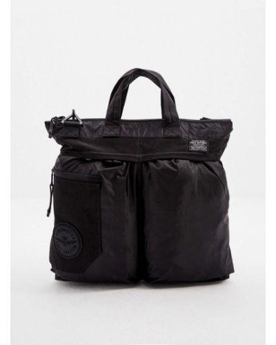 Черная текстильная сумка Aeronautica Militare
