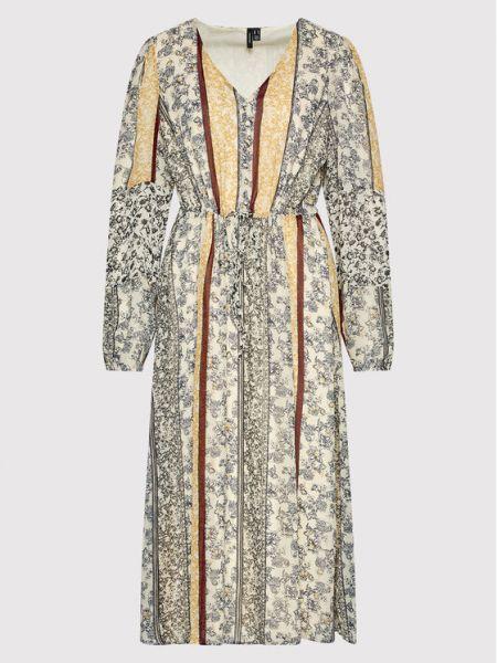 Beżowa sukienka casual Vero Moda Curve