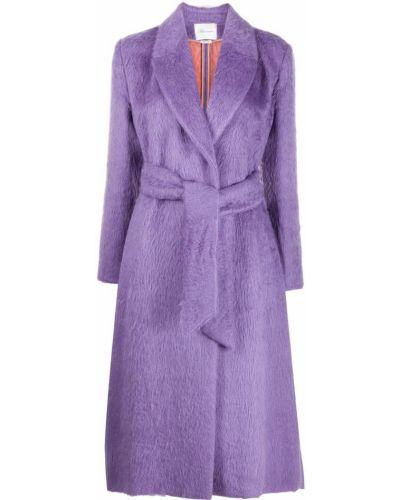 Фиолетовое длинное пальто из альпаки с поясом с лацканами Blumarine
