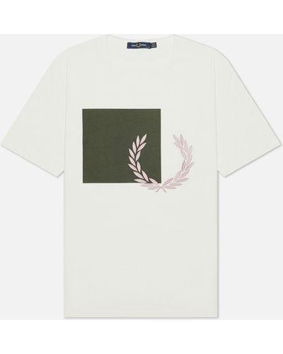 Белая хлопковая футболка Fred Perry