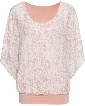 Блузка с коротким рукавом боди розовая Bonprix