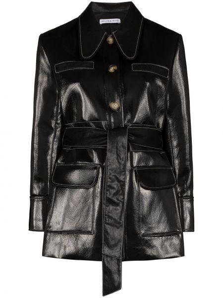 Черное кожаное пальто с карманами Rejina Pyo