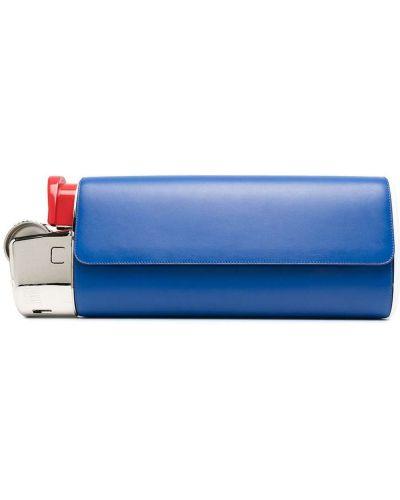 Niebieski skórzany zapalniczka z kieszeniami Moschino
