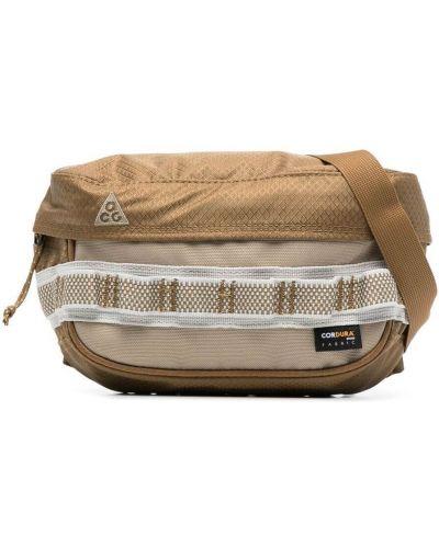 Бежевая поясная сумка с вышивкой на молнии Nike