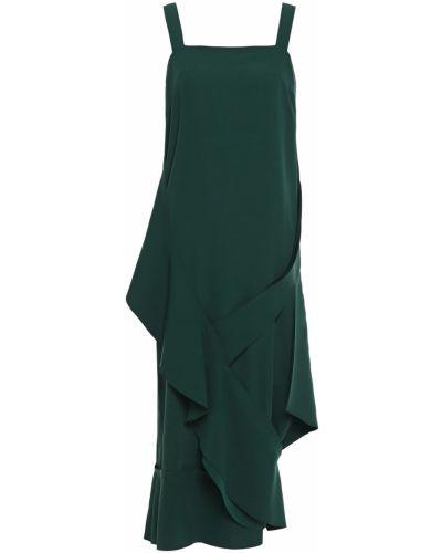 Зеленое платье миди с подкладкой из крепа Chalayan