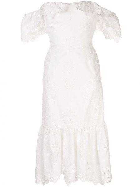 Платье миди с баской на молнии Marchesa Notte