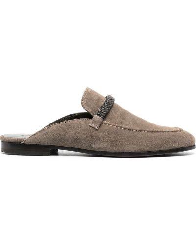 Кожаные мюли на каблуке на плоской подошве Brunello Cucinelli
