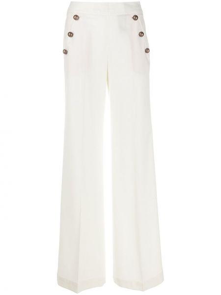 Белые свободные брюки свободного кроя на пуговицах с высокой посадкой Pt01
