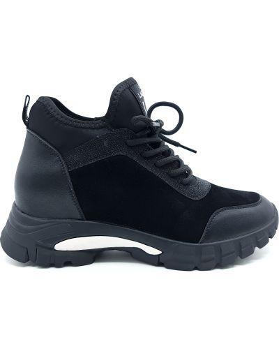 Замшевые кроссовки - черные Lonza
