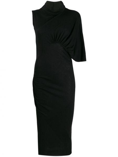 Платье с драпировкой черное Rick Owens Lilies
