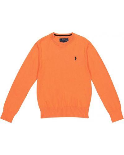Ватный хлопковый оранжевый свитер Polo Ralph Lauren Kids