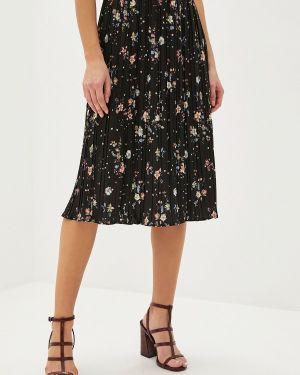 Плиссированная юбка черная осенняя Viaville