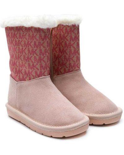 Розовые кожаные ботинки круглые с круглым носом Michael Kors Kids