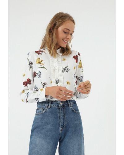 Блузка с длинным рукавом белая салатовый Lime