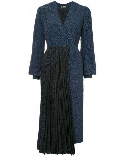 Платье макси в горошек со складками Dalood