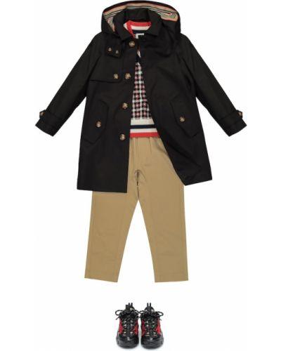 Klasyczny czarny płaszcz bawełniany Burberry Kids