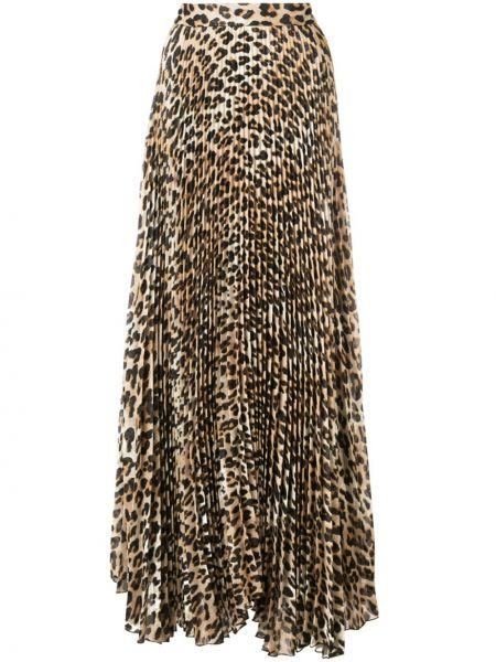 Brązowy z wysokim stanem jedwab pofałdowany spódnica maxi Alice+olivia