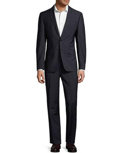 Темно-серый шерстяной костюм классический для офиса Calvin Klein