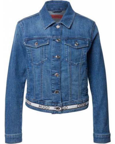 Niebieska kurtka jeansowa bawełniana Hugo