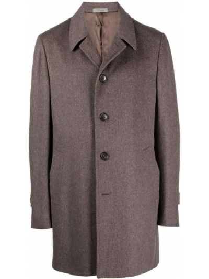 Коричневое пальто с воротником Corneliani