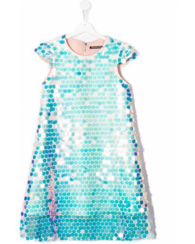 Прямое синее платье с рукавами с пайетками Marco Bologna Kids