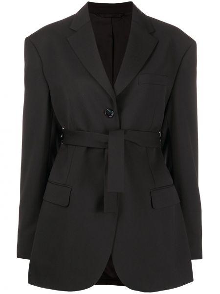 Однобортный черный удлиненный пиджак с карманами Acne Studios