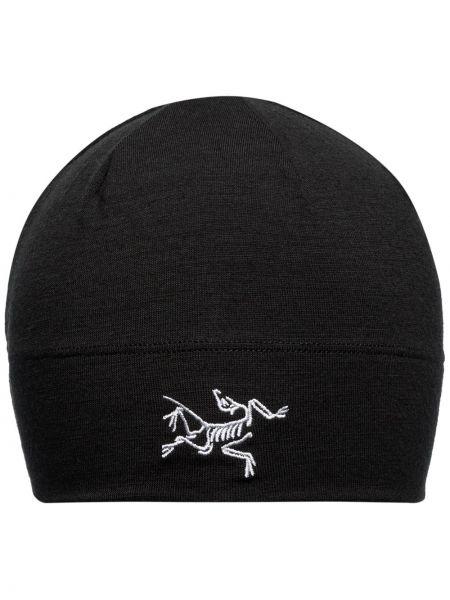 Czarny czapka beanie wełniany Arcteryx