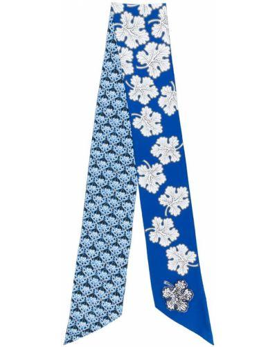 Синий шарф с цветочным принтом Fendi