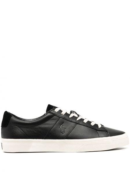 Кожаный черный ажурный топ на шнуровке Polo Ralph Lauren