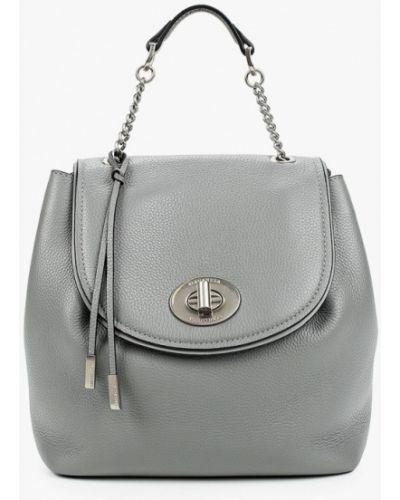 Серый городской рюкзак из натуральной кожи Eleganzza