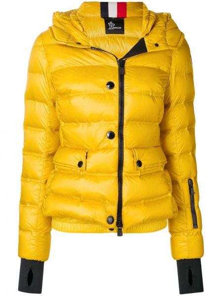 Желтая короткая куртка на молнии с капюшоном Moncler Grenoble
