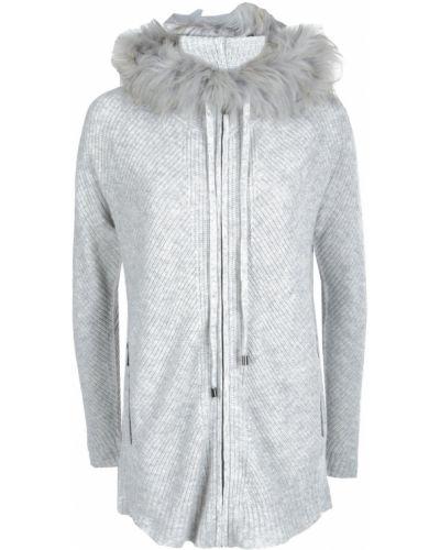 Кашемировый светло-серый вязаный кардиган с капюшоном на молнии Max & Moi