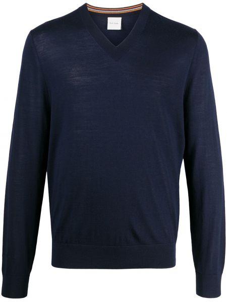 Wełniany ciemnoniebieski pulower z dekoltem w szpic z długimi rękawami Paul Smith