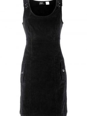 Платье вельветовое - черное Bonprix