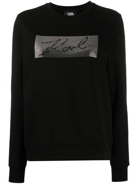 С рукавами черная толстовка с нашивками Karl Lagerfeld