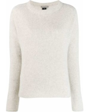 Кашемировый серый вязаный свитер в рубчик Suzusan