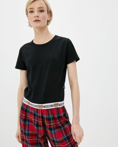 С рукавами черная футболка Moschino Underwear