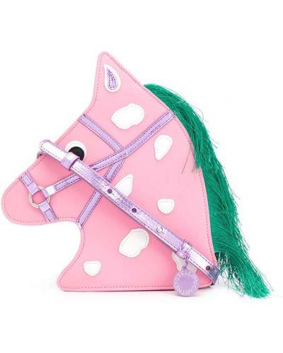Розовая сумка на плечо с бахромой на молнии Stella Mccartney Kids
