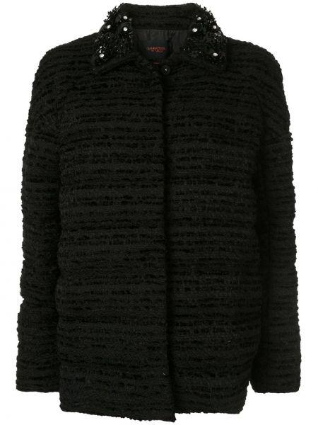 Шерстяная черная короткая куртка с потайной застежкой Giambattista Valli