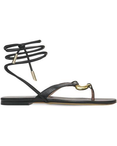 Кожаные черные стринги на шнурках Gia Couture