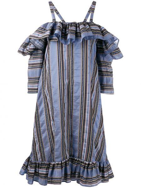 Платье макси в полоску с открытыми плечами Henrik Vibskov