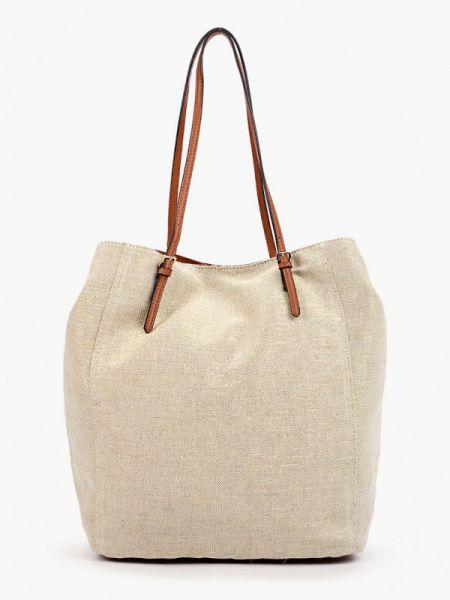 Бежевая кожаная сумка Marks & Spencer