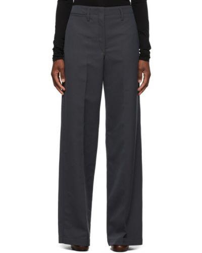 Prosto spodni wełniany spodnie o prostym kroju z paskiem Lemaire