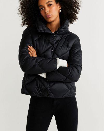 Прямая черная стеганая куртка с поясом Mango