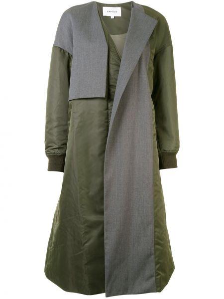 Nylon długi płaszcz z kieszeniami z długimi rękawami z dekoltem w szpic Enfold
