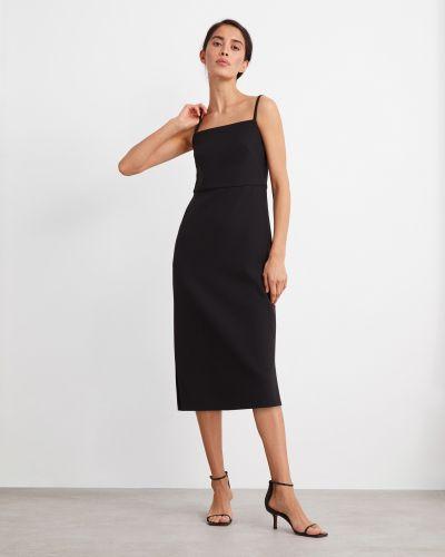 Приталенное шелковое черное платье 12storeez